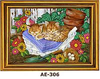 """Схема для вышивания бисером на атласе """"Кошки в лукошке"""" АЕ-306"""