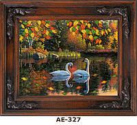 """Схема для вышивания бисером на атласе """"Романтичные лебеди"""" АЕ-327"""