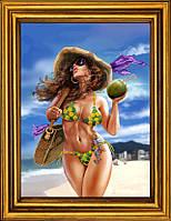 """Схема для вышивания бисером на атласе """"Королева  пляжа"""" АЕ-350"""