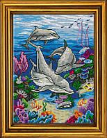 """Схема для вышивания бисером на атласе """"Дельфины"""" АЕ-383"""