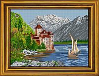 """Схема для вышивания бисером на атласе """"Замок у подножия горы"""" АЕ-389"""