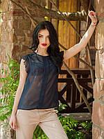 Шикарная молодежная блуза ассиметричного кроя темно-синего цвета