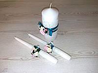 Набор свадебных свечей (Семейный очаг) в бирюзовом цвете