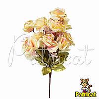 Букет Бежевых роз (Бежевые розы) из ткани с веточками Высота 44 см