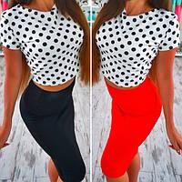 Костюм летний топ модный принт и юбка миди разные цвета SMb503