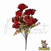 Букет Красных роз (Красные розы) из ткани с веточками Высота 44 см