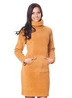 Теплое платья на флисе горчичный, 3XL