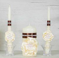 Набор свадебных свечей (Семейный очаг) шоколад и айври