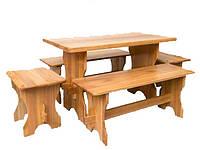 Обеденные столы с лавками из дерева