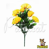 Букет Желтых роз (Желтые розы) из ткани с веточками Высота 40 см