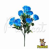 Букет Синих роз (Синие розы) из ткани с веточками Высота 40 см