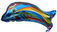 """Шар фольгированный фигурный """"Дельфин синий"""".  Размер: 60 см."""