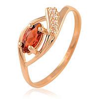 Золотое кольцо с гранатом и фианитами, фото 1