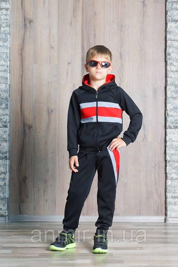 Спортивный костюм для мальчика 7-11 лет, синий с красным, фото 1