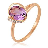 Золотое кольцо с аметистом и фианитами, фото 1