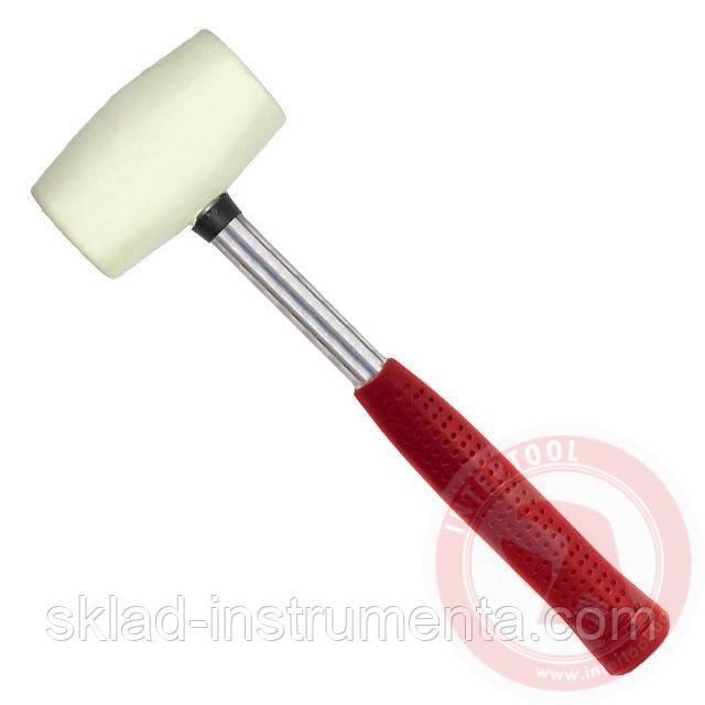 Киянка резиновая 680 г. 80 мм, белая резина, металлич. ручка