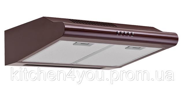 Pyramida Basic Uno 60 brown 600 мм. плоская кухонная вытяжка, коричневая эмаль