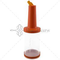 Бутылка с гейзером 1 л прозрачная (оранжевая крышка) The Bars PM01O