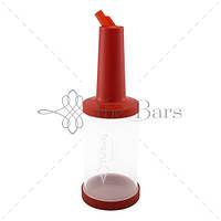 Бутылка с гейзером  1 л прозрачная (красная крышка) The Bars  PM01R