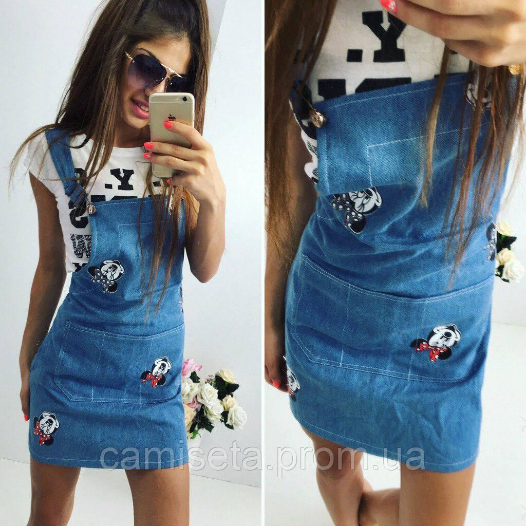afbc095341a Сарафан женский джинсовый «Микки Маус» P2992 - Интернет-магазин одежды