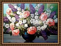 Картина в багетной раме Сирень. Розы. Колокольчики 200х240мм №656