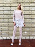 Костюм брюки+длинная блуза с кружевом