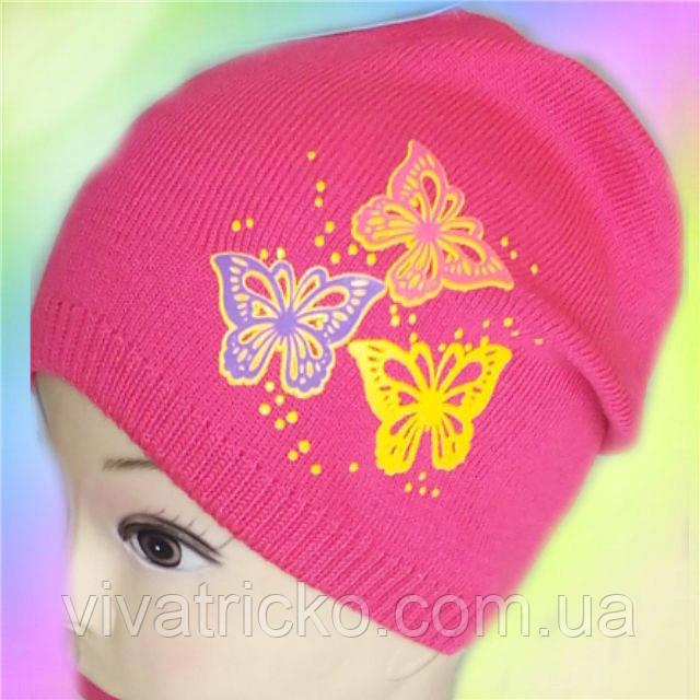 Шапка вязанная для девочек с аппликацией Бабочки, разные цвета