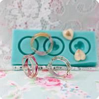 Молд на 3 кольца размерами 15,75 - 16,25 и 17 и 2 сердечка