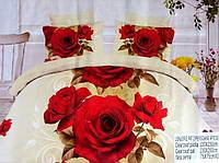 5D Постельное белье Евро размера East Comfort - на светлом красные розы