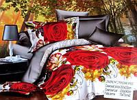 5D Постельное белье Евро размера East Comfort - большие розы