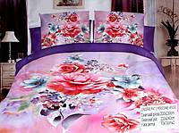 5D Постельное белье Евро размера East Comfort - розовые цветы