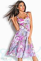 Потрясающее женское платье на бретелях приталенного фасона с цветочным принтом трикотаж 3D