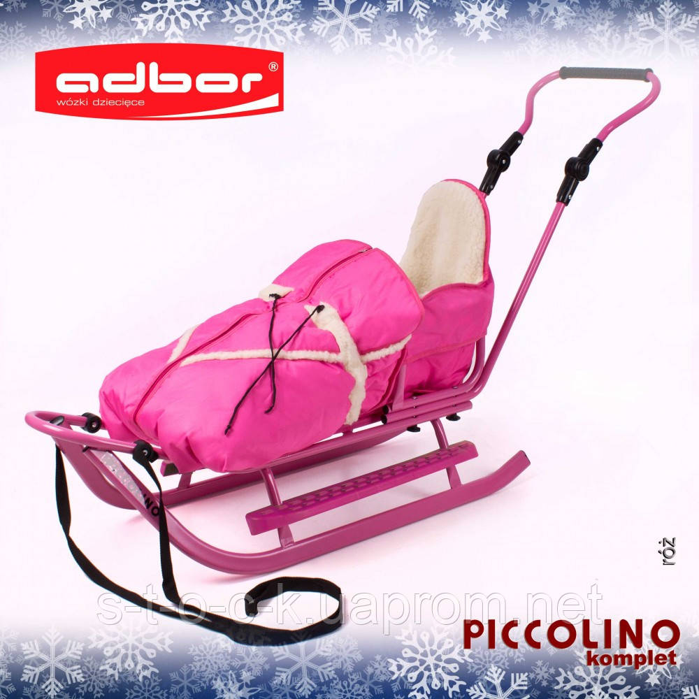Санки детские Adbor Piccolino с конвертом розового цвета