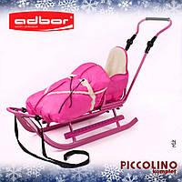 Санки детские Adbor Piccolino с конвертом розового цвета, фото 1