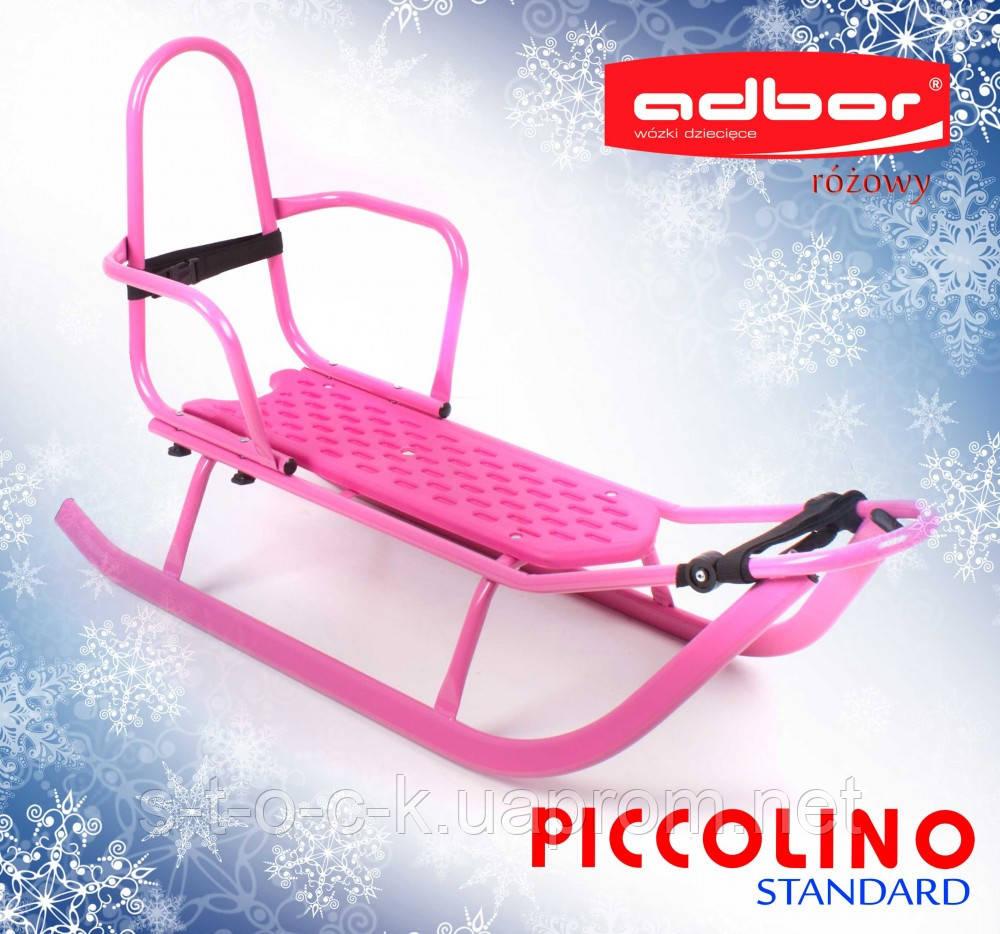 Санки для детей со спинкой Adbor Piccolino розового цвета