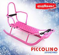 Санки для дітей зі спинкою Adbor Piccolino рожевого кольору