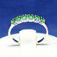 Серебряное кольцо с зеленым фианитом Дорожка 1083з, фото 1
