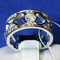 Широкое серебряное кольцо Сердечное 3710 мм