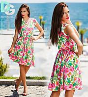 Платье Летнее в цветочек Повседневное Женственное Платьице