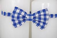 Детский галстук-бабочка Клетка (синий)