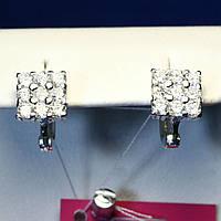 Серебряные серьги с фианитом Квадрат 2082