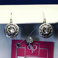 Серебряные серьги с цирконием, черненые 2116
