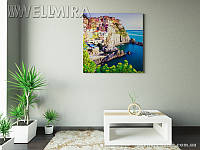Модульная картина Яркие греческие дома на ткани 100х100 см, арт. FA-10 001465