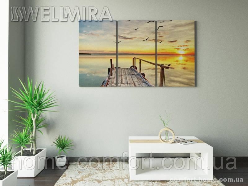 Модульная картина Фотокартина Чайки над пирсом на ткани 90х150 см, арт. FA-10 001478 - Магазин уюта и комфорта «Comfort Home» в Киеве