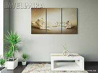 Модульная картина Фотокартина Белые львы на ткани 90х150 см, арт. FA-10 001479