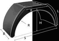 Крыло из пластика с белой каймой и плоским верхом, 510мм, Domar (Италия)