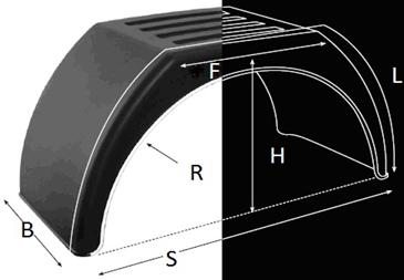 Крыло из пластика с белой каймой и плоским верхом B-510mm; L-1770mm, Domar (Италия)