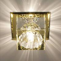 Светильник точечный с кристаллом Feron JD55 прозрачный, жёлтый