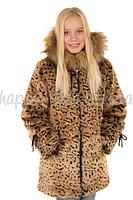 Шуба Леопард натуральная опушка Tashkan