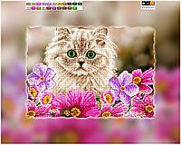 """Схема для вышивки бисером на подрамнике (холст) """"Котенок в цветах"""""""